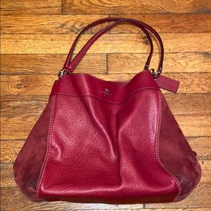 Coach Lexy red leather shoulder bag purse F31415